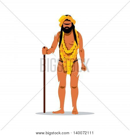 Pilgrim with his staff. Isolated on a White Background