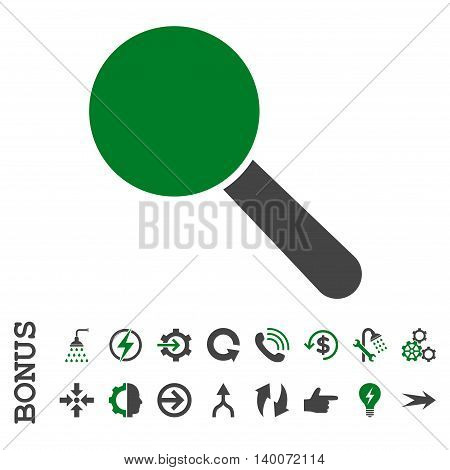 Search Tool glyph bicolor icon. Image style is a flat iconic symbol, green and gray colors, white background.