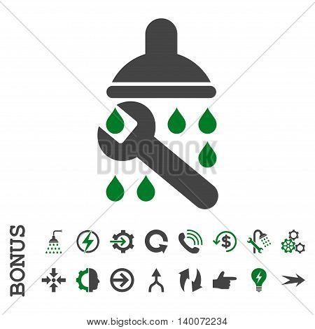 Shower Plumbing glyph bicolor icon. Image style is a flat iconic symbol, green and gray colors, white background.