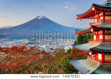 Mt. Fuji, Japan from Chureito Pagoda in autumn.