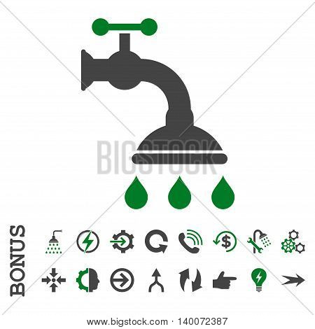 Shower Tap glyph bicolor icon. Image style is a flat pictogram symbol, green and gray colors, white background.