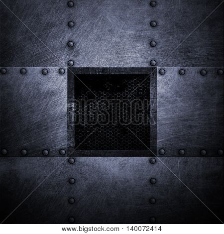 grunge metal plate and grid window. 3d illustration. background and texture.
