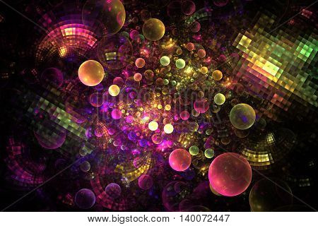 Abstract rainbow bubbles and tiles on black background. Fantasy fractal texture in pink purple orange yellow and green colors. Digital art. 3D rendering.