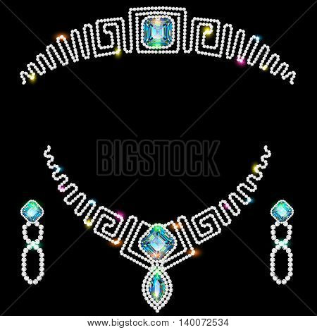 Illustration design element earrings necklaces and a crown of pr