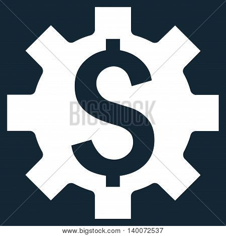 Dollar Options vector icon. Style is flat symbol, white color, dark blue background.