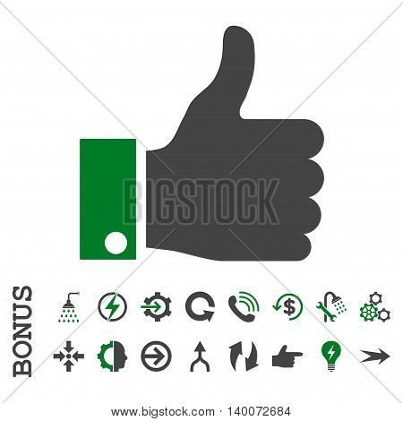 Thumb Up glyph bicolor icon. Image style is a flat pictogram symbol, green and gray colors, white background.