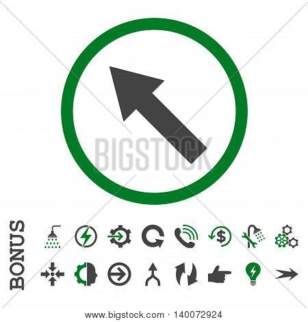 Up-Left Rounded Arrow glyph bicolor icon. Image style is a flat iconic symbol, green and gray colors, white background.