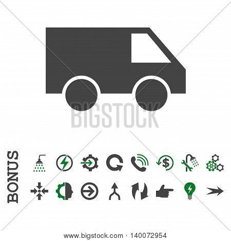 Van glyph bicolor icon. Image style is a flat iconic symbol, green and gray colors, white background.