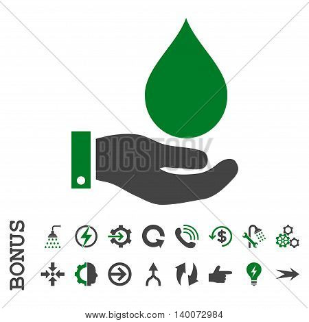 Water Service glyph bicolor icon. Image style is a flat iconic symbol, green and gray colors, white background.