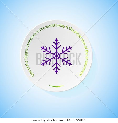 Environmental icons depicting snowflake with shadow, abstract vector illustration