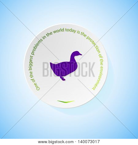 Environmental icons depicting duck with shadow, abstract vector illustration