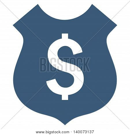 Financial Shield vector icon. Style is flat symbol, blue color, white background.