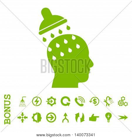 Brain Washing glyph icon. Image style is a flat iconic symbol, eco green color, white background.