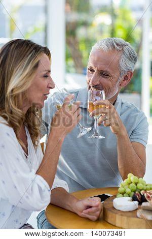 Happy mature couple drinking wine in restaurant
