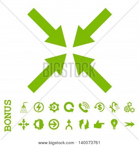 Center Arrows glyph icon. Image style is a flat iconic symbol, eco green color, white background.