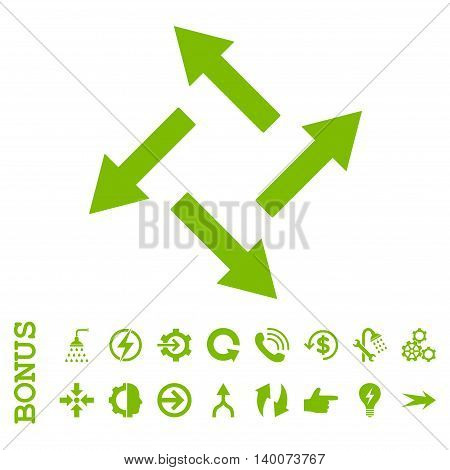 Centrifugal Arrows glyph icon. Image style is a flat iconic symbol, eco green color, white background.