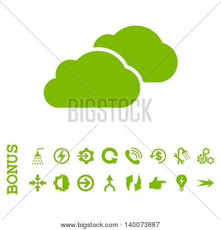 Clouds glyph icon. Image style is a flat iconic symbol, eco green color, white background.