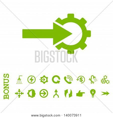 Cog Integration glyph icon. Image style is a flat iconic symbol, eco green color, white background.