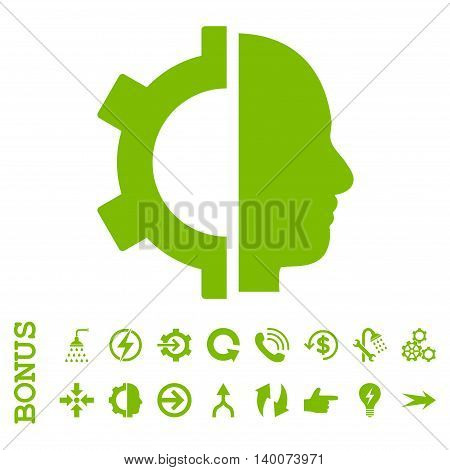 Cyborg Gear glyph icon. Image style is a flat pictogram symbol, eco green color, white background.