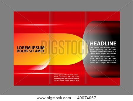 Red Colors Polygonal Geometric Elements Style Business Tri-Fold Vector Brochure Template. Corporate Leaflet, Cover Design