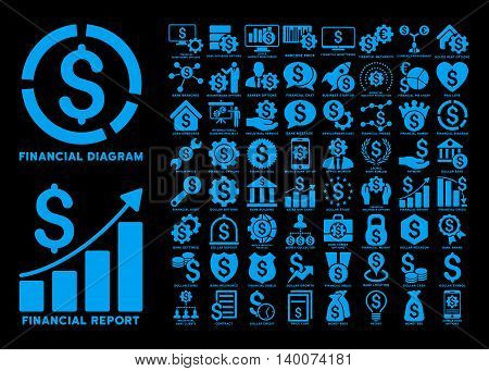 Dollar Finances Flat Vector Icons with Captions. Style is named blue flat icons isolated on a black background.