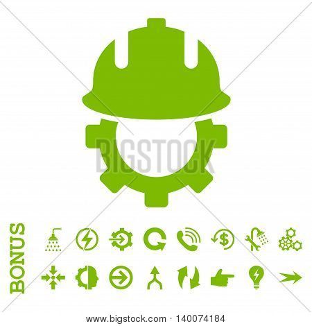 Development Helmet glyph icon. Image style is a flat iconic symbol, eco green color, white background.