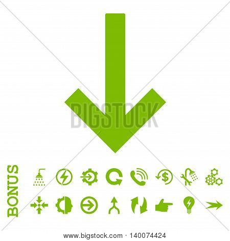 Down Arrow glyph icon. Image style is a flat pictogram symbol, eco green color, white background.