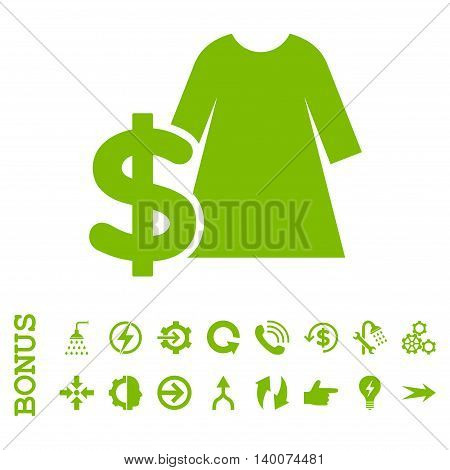 Dress Price glyph icon. Image style is a flat pictogram symbol, eco green color, white background.