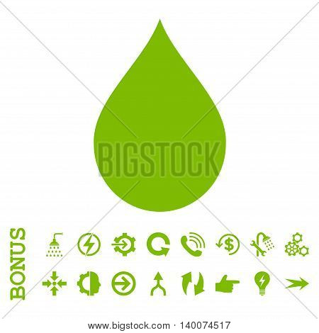 Drop glyph icon. Image style is a flat pictogram symbol, eco green color, white background.