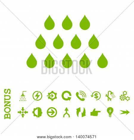 Drops glyph icon. Image style is a flat pictogram symbol, eco green color, white background.