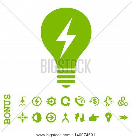 Electric Bulb glyph icon. Image style is a flat pictogram symbol, eco green color, white background.