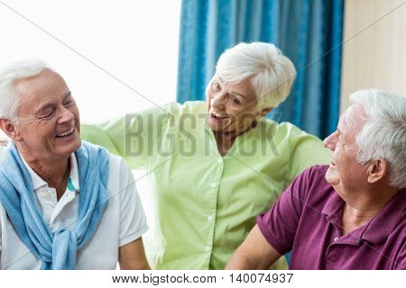 Seniors having fun together in a retirement home