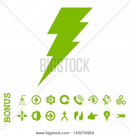 Execute glyph icon. Image style is a flat pictogram symbol, eco green color, white background.