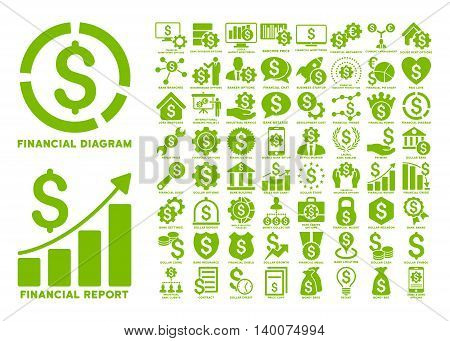 Dollar Finances Flat Vector Icons with Captions. Style is named eco green flat icons isolated on a white background.