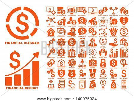 Dollar Finances Flat Vector Icons with Captions. Style is named orange flat icons isolated on a white background.