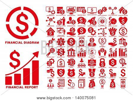 Dollar Finances Flat Vector Icons with Captions. Style is named red flat icons isolated on a white background.