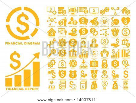 Dollar Finances Flat Vector Icons with Captions. Style is named yellow flat icons isolated on a white background.