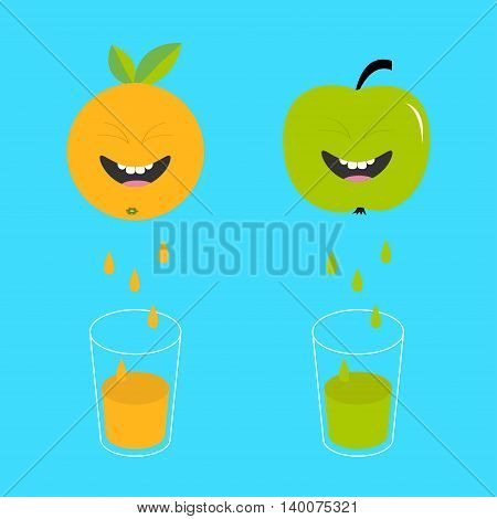 Fresh juice and glasses. Apple orange fruit with faces. Smiling cute cartoon character set. Natural product. Juicing drops. Flat design. Blue background. Isolated. Vector illustration