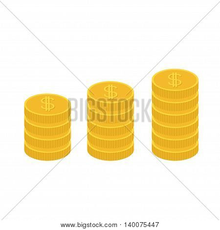 Gold coin stacks icon in shape of diagram. Dollar sign symbol. Cash money. Going up graph. Income and profits. Growing business concept. Flat design. White background. Isolated. Vector illustration