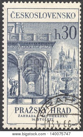 MOSCOW RUSSIA - CIRCA FEBRUARY 2016: a post stamp printed in CZECHOSLOVAKIA shows Belvedere Palace the series
