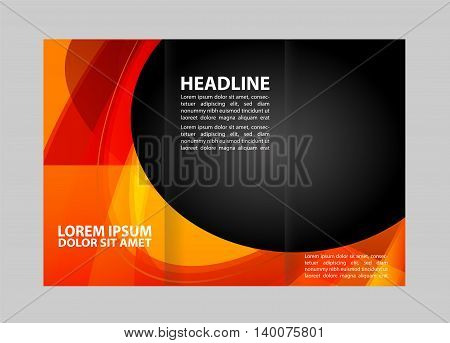 Template design of trifold brochure with polygons. Editable and light vector with places for photos. Proportionally A4