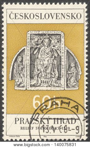MOSCOW RUSSIA - CIRCA FEBRUARY 2016: a post stamp printed in CZECHOSLOVAKIA shows Wood Triptych Virgin and Child (St. George's Church) the series