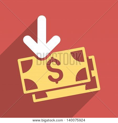 Dollar Banknotes Income long shadow vector icon. Style is a flat dollar banknotes income iconic symbol on a red square background.