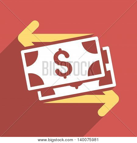 Dollar Banknotes Payments long shadow vector icon. Style is a flat Dollar banknotes payments iconic symbol on a red square background.