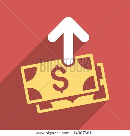 Pay Banknotes long shadow vector icon. Style is a flat pay banknotes iconic symbol on a red square background.