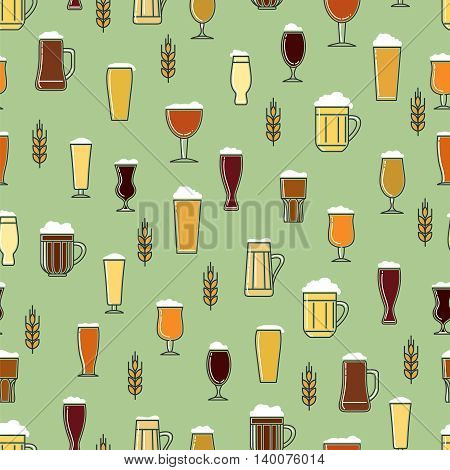 Colorful seamless pattern with glasses of beer and rye branch vector