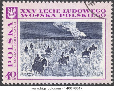 MOSCOW RUSSIA - CIRCA FEBRUARY 2016: a post stamp printed in POLAND shows a battle scenery the series