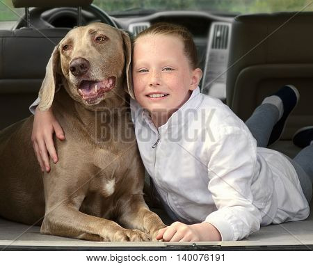 Happy Little Girl And Dog