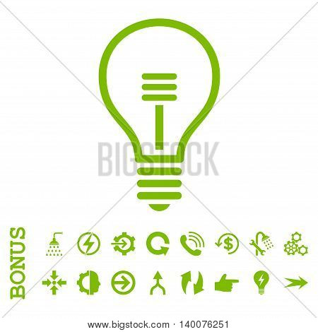 Lamp Bulb glyph icon. Image style is a flat pictogram symbol, eco green color, white background.