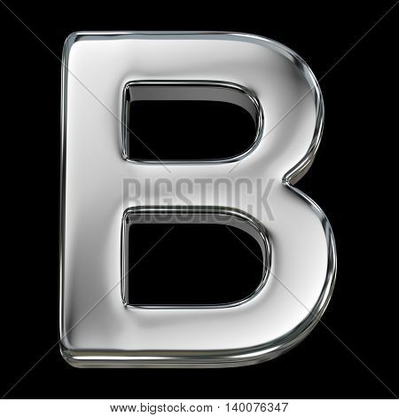 Letter B from chrome solid alphabet isolated on white